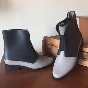 Grey and black rubber Chelsea boots